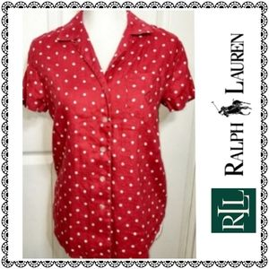 {LRL Ralph Lauren} Linen top, red & white dots, S